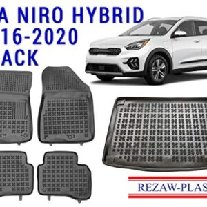 Floor Mats Set for Kia NIRO 2016-2021 1st and 2nd Row Set + Cargo Liner Rear Rubber Tray Black Cover Hybrid Car Interior…
