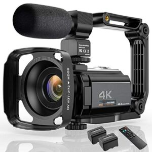 Video Camera 4K Camcorder Ultra HD 48MP WiFi IR Night Vision Vlogging Camera 3″ IPS Touch Screen 16X Digital Zoom Digital YouTube Camera Recorder with Microphone,Stabilizer,Hood,Remote