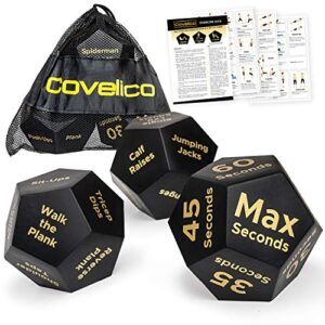 Covelico Exercise Dice – Fun Fitness Dice and Workout Dice for Exercise | 3 x 12-Sided Foam dice | HIIT Equipment…