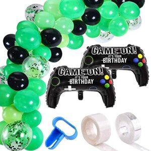 115 Pieces Video Game Party Balloon Arch Garland Kit – Black Green Confetti Balloons Decor, 16ft Balloon Strip Tape, 1pc…