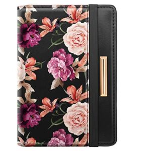 Passport Holder Cover Travel RFID Blocking Passport Cover Rose Gold Cute Flowers Passport Wallet with Elastic Band for…