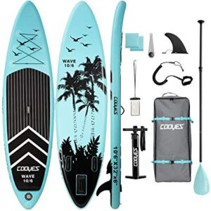 Cooyes Inflatable Stand Up Paddle Board 10'6″ with Free Premium SUP Accessories & Backpack, Non-Slip Deck. Bonus Waterproof Bag, Leash, Paddle and Hand Pump