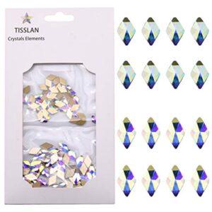 100pcs Crystal Ab Foild Flatback Rhombus Strass 3d Nail Decoration Jewels Stones 2 Size Mix Supply 50pcs Each