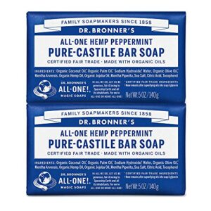 Dr. Bronner's – Pure-Castile Bar Soap (Peppermint, 5 ounce) – Made with Organic Oils, For Face, Body and Hair, Gentle…