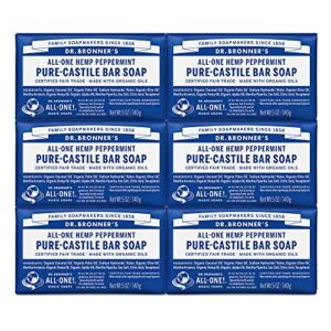 Dr. Bronner's – Pure-Castile Bar Soap (Peppermint, 5 ounce, 6-Pack) – Made with Organic Oils, For Face, Body & Hair…