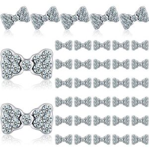 40 Pieces 3D Bow Nail Charms Bow Tie Design Nail Art Slices Rhinestone Alloy Bow Nail Art Decals Bow Nail Art Decoration…